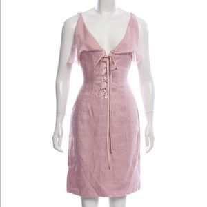 Vintage Valentino Lace Up Linen Dress - Pink